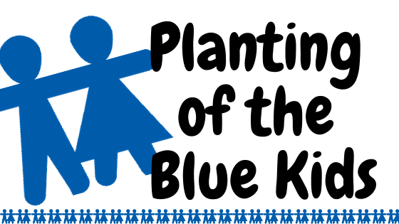 text - planting of the blue kids